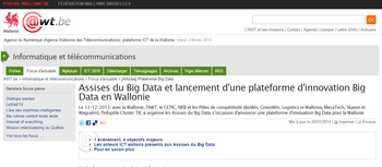 Assises du Big Data et lancement d'une plateforme d'innovation Big Data en Wallonie