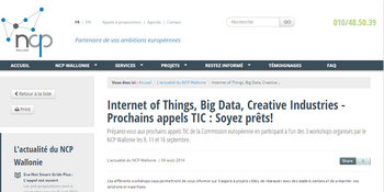 Internet of Things, Big Data, Creative Industries - Prochains appels TIC : Soyez prêts !