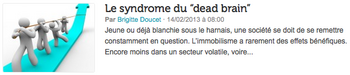 "Le syndrome du ""dead brain"""
